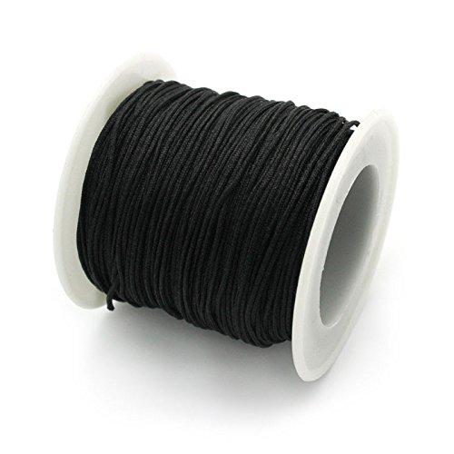 Ruby-1,0 mm 45 Meter Gewachste Polyester Runde Geflochtene Gewinde Macrame Cord DIY Makramee String für Schmuck Zubehör (Schwarz)