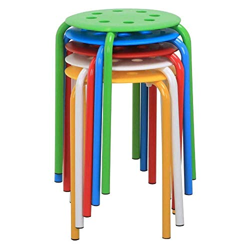 SPRINGHUA Taburete de plástico de color - silla de salón simple restaurante al aire libre taburete de repuesto portátil apilable bar taburete escuela aula taburete silla de comedor silla