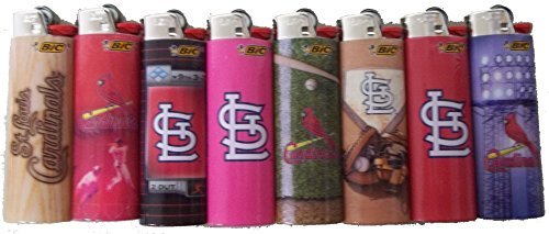 BIC 8pc Full Size Set Compatible with St Louis Cardinals MLB Officially Licensed Cigarette Lighters Saint Cards