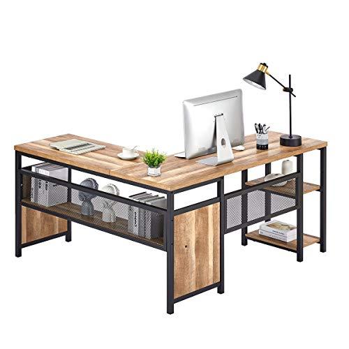 FATORRI L Shaped Computer Desk, Industrial Office Desk with Shelves, Rustic Wood and Metal Corner Desk for Home Office (Rustic Oak, 59 Inch)…