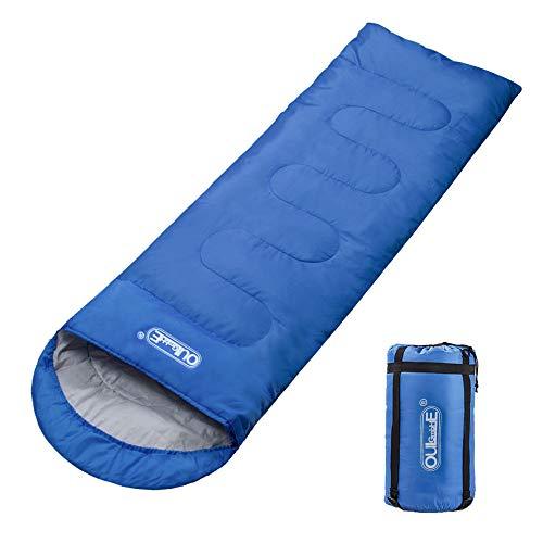 Oule GmbH Schlafsack Deckenschlafsack 3 Jahreszeiten 210T Polyester 220 x 75 cm 5 bis 20 °C 100% Baumwollhohlfaser 300 g/m² Füllung Stabil leicht mit kleinem Packmaß in Tragetasche - Blau