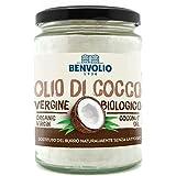 BENVOLIO 1938 Aceite de coco virgen ecológico para la alimentación - 500 ml - Prensado en frío crudo. 100% puro natural y orgánico. Aceite de coco ecológico para el cabello Aceite de masaje hidratante