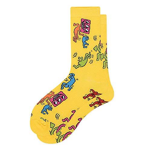 ROUNDER Frauen Socken Lustige süße Cartoon Zitrone Ei Donuts Essen Happy Bunte Neuheit Skateboard Socken 3 Paare-Tanzender Bösewicht gelb_Einheitsgröße