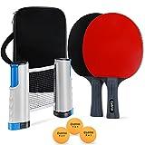 Cadrim Juego de Raquetas de Ping Pong, 2 Raquetas + 3 Pelotas de Tenis de Mesa + 1Rede de Ping Pong Retráctiles, Juegos de Tenis de Mesa Portátiles para Principiantes,Familias y Profesionales