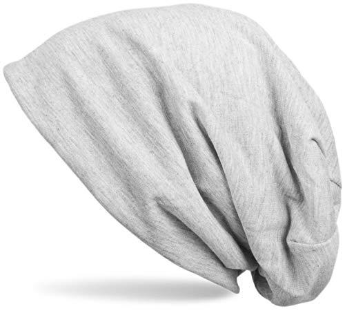 styleBREAKER Klassische Slouch Beanie Mütze, leicht und weich, Longbeanie, Unisex 04024018, Farbe:Hellgrau meliert