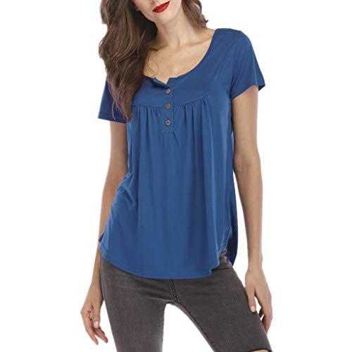 IHEHUA Tops T-Shirts Damen Einfarbig Blusen Kurzarm Button Down Tight Wild Lockeres Street Mode Shirt Hemd Oberteil Tuniken Kostüm Sweatshirt(B-Blau,S)