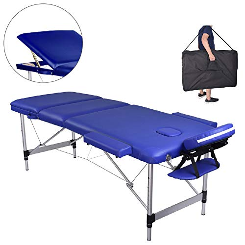 MC Star Massageliege 3 Zonen Aluminium Klappbar Tragbar Massagetisch Faltbar Leicht Deluxe Massage Bett Höhenverstellbar Spa Reiki Tattoo mit Armlehne Kopfstütze Tasche, Blau