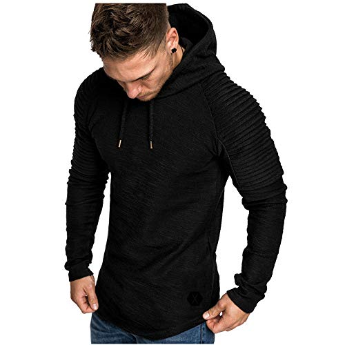PPPPA Mens Hoodies Clothes Round Neck Slim Solid Striped Pleated Raglan Long Sleeve Hooded Sweatshirt Top Blouse Tracksuits Men's Round Neck Slim Solid Color Hooded Long-Sleeved t-Shirt top