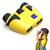 Cycvis Binoculars for Kids - 10x25 Kids Binoculars for Bird Watching, HD Travel Binocular Telescope, Small Kids Toys Binoculars for Boys for Hiking, Bird Watching, Best Gifts for 3-12, Yellow