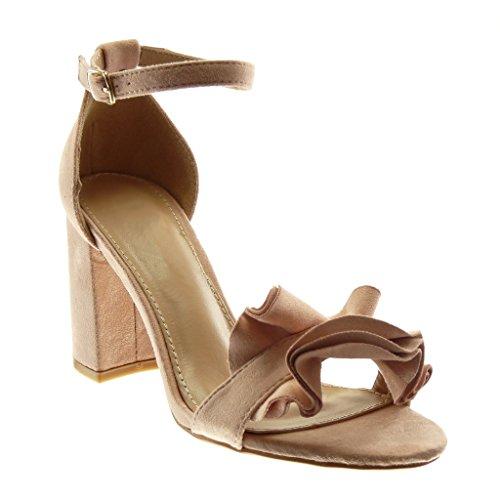 Angkorly - dames schoenen sandalen - enkelriem - met ruches - string Tanga blokhak hoog heel 8,5 cm