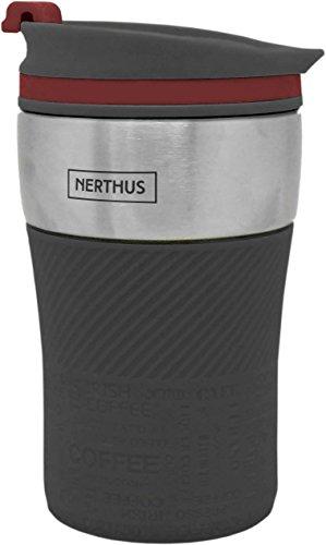NERTHUS FIH 237 B Taza Termo de Doble Pared, Acero Inoxidable, Negro, 250 ml