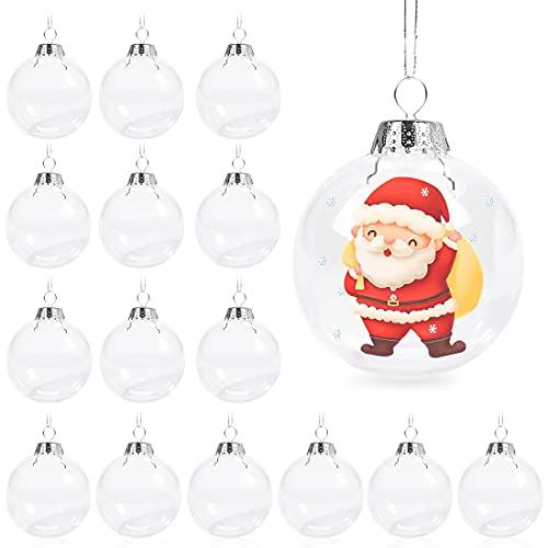 Aurasky Palle di Natale Trasparenti,16pcs Natale Palline Albero,Palle di Natale Palline Riempibili,Palla Trasparente, Decorazione Natalizia Albero Natale, Decorazione Natalizia Albero Natale