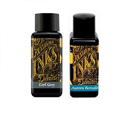 Diamine Aurora Borealis & Earl Grey - Tinta para pluma estilográfica (30 ml, 2 unidades)