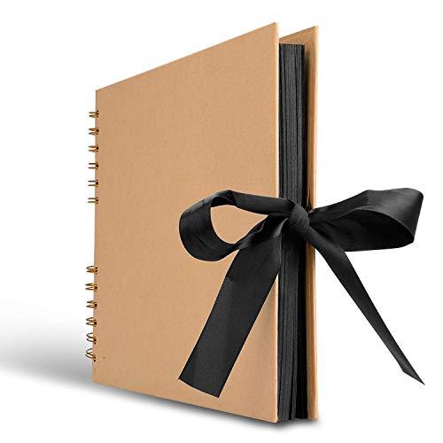 Innocheer Scrapbook, 80 Black Pages Photo Album, 11.6 x 8.3 inch Great for Craft Paper DIY Anniversary, Wedding, Valentines Day Gifts(Brown)
