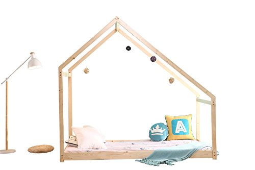 Bedroom Twin Size Furniture Premium Wood Children Toddler House Bed Frame Tent Bed Floor Bed