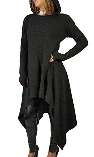 Minetom Damen Hoodies Pullover Unregelmäßige Strick Hoodies Oversize Langarm Pullikleid Longshirt Top Minikleid Schwarz DE 36