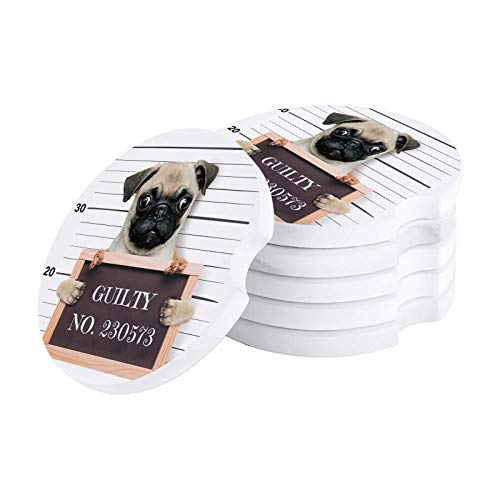 NO:230573 Bad Pug Guilty Car Coaster with Finger Notch with Finger Notch for Drink 6 Piece Set Absorbent Car Cup Holder Coaster for Vehicle Cup Pad for Women, Men