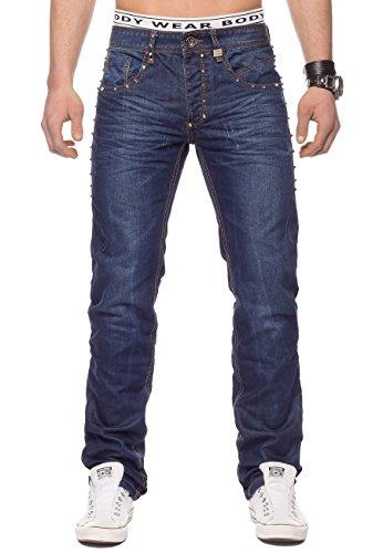 Jeans para Hombres con Tachuelas Charleston ID1330 Azul Oscuro, Color:Azul Oscuro, Talla de pantalón:30W (Ropa)