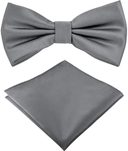 Helido Fliege für Herren mit Einstecktuch, 12 verschiedenfarbige Accessoires-Sets passend zu Hemd und Anzug oder Smoking + Geschenkbox (Grau)