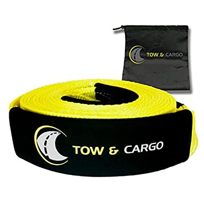 Tow & Cargo Tow Recovery Strap, Heavy Duty With Loops, 20 ft 30000 lb Break Strength, 10000 WLL, UTV ATV Off Road Tow Rope - Pair with winch, snatch block, D Ring Bow Shackles (20 FT)