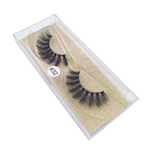 1pair 3D Artificial Mink Wimpern Attraktiver Handgefertigte langer Cross-Faser natürliche weiche Locken-Augen-Peitsche-Art-Erweiterung für Frauen Style-32