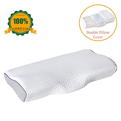 Natural Latex Pillow,Orthopedic Pillow,Pure Cervical Contour Bed Pillows for Sleeping, Neck Support Pillow for Neck Pain with Washable Breathable Pillowcase