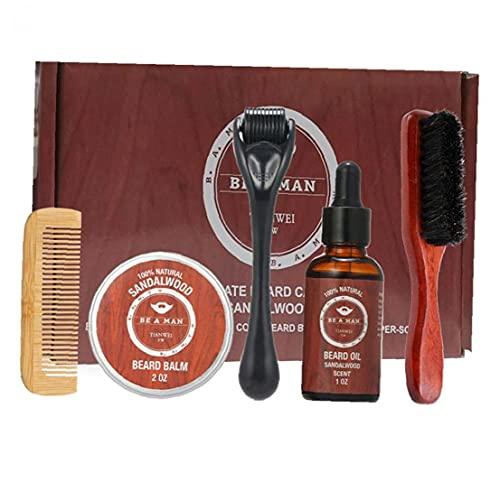fregthf Care Kit Barba Crecimiento de la Barba y estética Kit de Recorte del Pelo fijados Barba Peine Cepillo Estimular Crecimiento de la Barba con la Regla Shape Regalo para los Hombres
