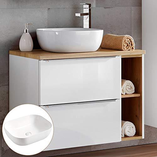 Lomadox Badmöbel Waschtisch-Unterschrank Set mit Regal, Hochglanz weiß mit Eiche, 41cm Keramik Waschbecken, 2 Softclose-Schubkästen, B/H/T 81/74,5/46 cm
