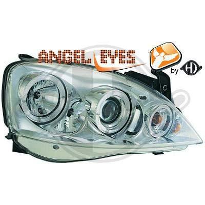 1813480, 1 paar Angel Eyes koplampen chroom voor Corsa C van 2000 tot 2006