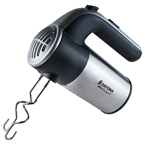 MWMALLINDIA 300-Watt Hand Mixer Beater Blender Electric Cream Maker for Cakes with Base 5 Speed Control and 2 Stainless Steel Beaters, 2 Dough Hooks