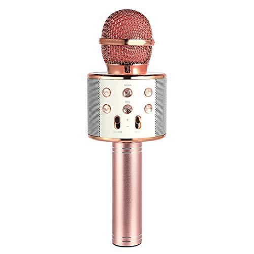Altavoz de micrófono inalámbrico Bluetooth Profesional Handheld Mini Micrófono Karaoke Mic Music Player Canto Recorder Micrófono (Color : Rosegold)