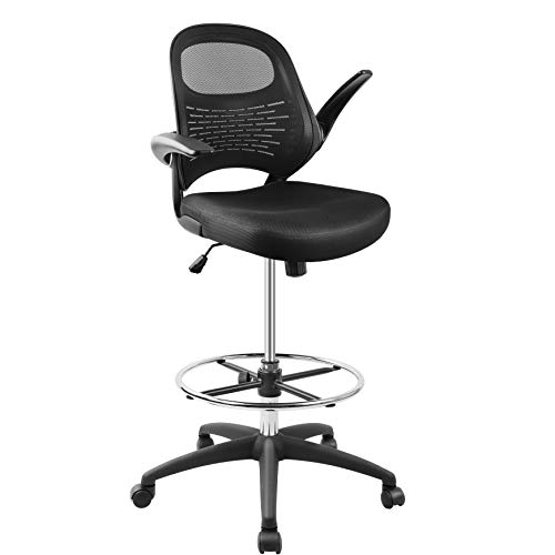 Drafting Chair, Tall Office Chair for Standing Desk, Mesh Drafting Table Chair with Adjustable Foot Ring, Flip-Up Arms, Black