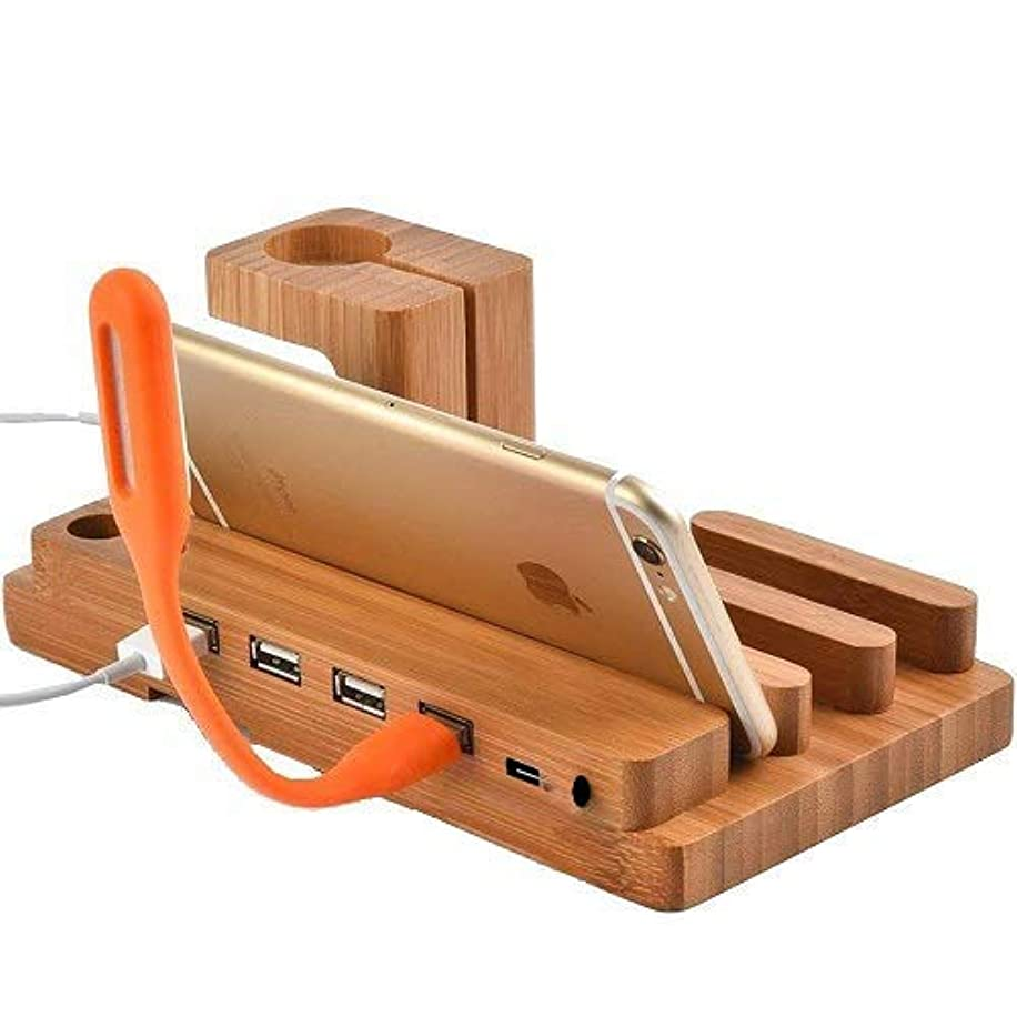 Watch Stand,BAVIER Bamboo Wood 3-Port 3.0 Hub USB Charging Station, Phone Charger Dock and Charging Station for iPhone iPad and Smartphones and Tablets.
