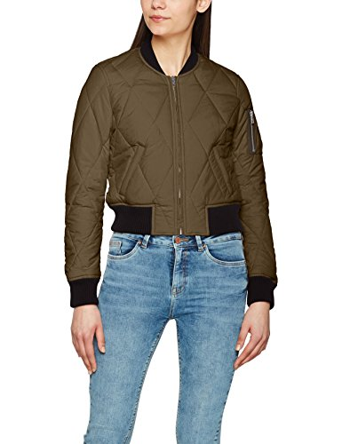 Urban Classics Damen Ladies Diamond Quilt Short Bomber Jacke, Mehrfarbig (Darkolive/Black 795), Large