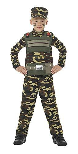 Smiffys-48209M Disfraz de Camuflaje Militar para niño de Color con Parte de Arriba, Panta, Verde, M-Edad 7-9 años (Smiffy