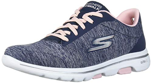 Skechers Women's GO Walk 5-True Sneaker, Navy/Pink, 9.5 Medium US
