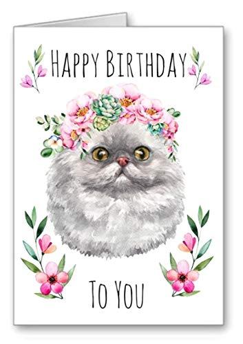 Persian Cat Birthday Card Flower Garland Happy Birthday (Envelope Included)