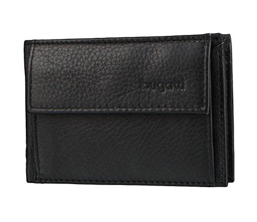 Bugatti Sempre Geldbörse Herren Leder 4CC – Portemonnaie Herren Querformat Schwarz – Geldbeutel Portmonee Wallet Brieftasche Männer Portmonaise