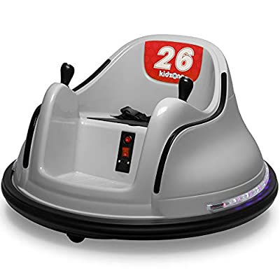 Kidzone DIY Race #00-99 6V Kids Toy Electric Ride On Bumper Car Vehicle Remote Control 360 Spin ASTM-Certified, Gray