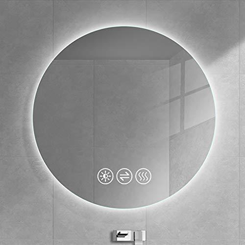 Redondo Espejo de Baño de Pared LED, con Botón Táctil Regulable y Almohadilla Antivaho, Espejo Retroiluminado por LED, Espejo De Maquillaje Iluminado de Bajo Consumo