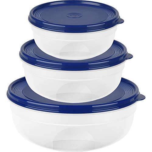 Emsa Frischhaltedose, rund/flach, blau, 0,8L/1,4L SUPERLINE FH-Set ru/FL 0,8/1,4/2,4L, Plastik, 0,8/1,4/2,4 L, 3-Einheiten