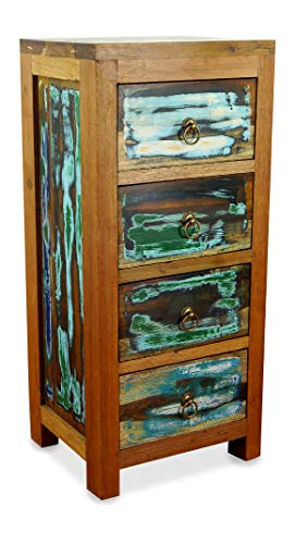 livasia Teakholz Kommode aus Java | Recyceltes buntes Bootsholz | Asiatische Möbel | Designer Möbel aus Bootsholz | Massivholzkommode der Marke Asia Wohnstudio | Nr.337