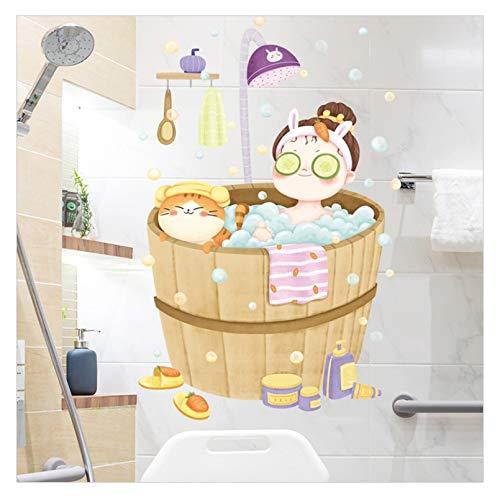 YLBHD Pegatinas de Pared Autoadhesivas Impermeables para baño de bebé de Dibujos Animados Lindo Gato Dormitorio decoración de Pared Pegatinas de Azulejos de baño decoración de Anime