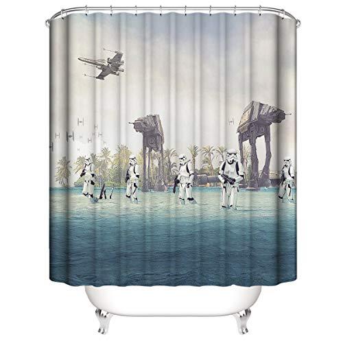 CELLYONE Cortina de Ducha Impermeable poliéster Moho Cortina de Ducha de poliéster Grueso impresión 3D Star Wars con Gancho de baño