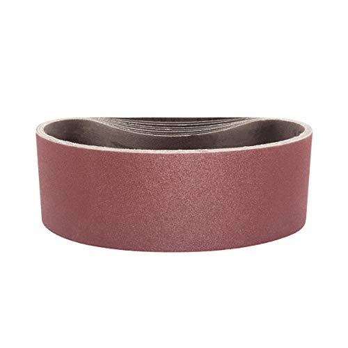 POWERTEC 110470 3 x 21' Sanding Belts | 60 Grit Aluminum Oxide Sanding Belt | Premium Sandpaper For Portable Belt Sander – 10 Pack