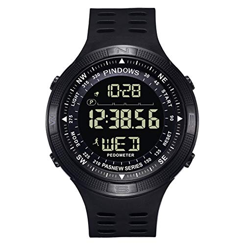 Pasnew Hombre Digital Relojes para Hombre Relojes Deporte Relojes Adolescent Relojes con Alarma luz Timer cronómetro Impermeable Podómetro Brújula Calorías Multifuncional Reloj de Pulsera