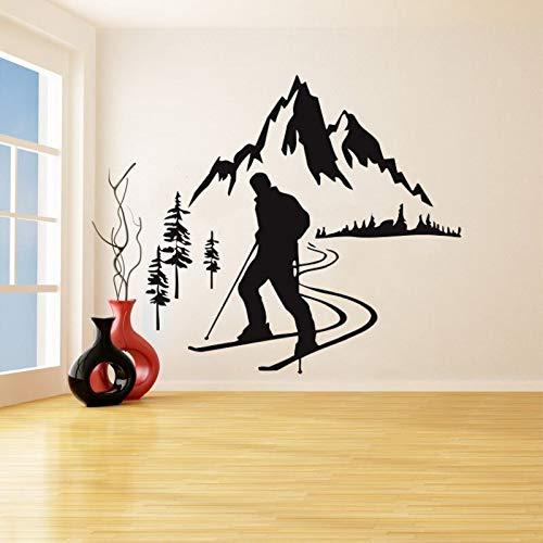 hetingyue Alpine Ski Skifahrer Sport Abnehmbare Applique Vinyl Wandaufkleber Schlafzimmer Wohnzimmer Kunst Poster 75x81 cm