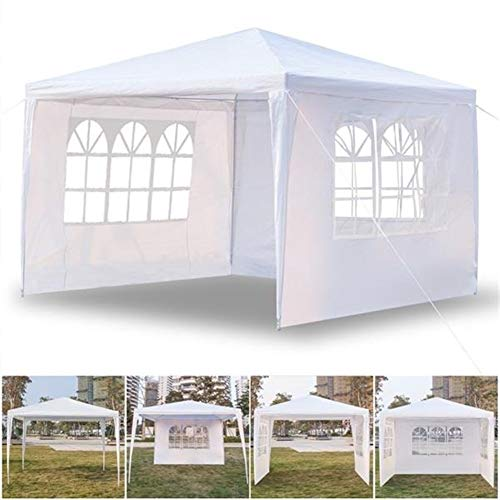 ZZRS 3 x 3m Garden Gazebo Marquee Tent with 3 Side Panels, Fully Waterproof, Powder Coated Steel Frame for Outdoor Wedding Garden Party