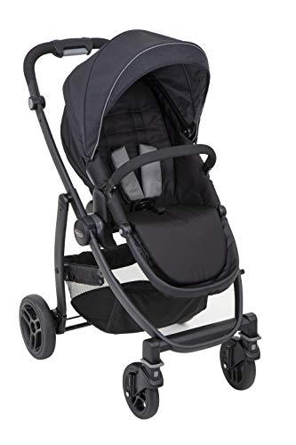 Graco Evo Kinderwagen, Kombikinderwagen, 0-15 kg, auch als Travel-System mit Babyschale oder mit Tragewanne, Rückenlehne verstellbar, Sportsitz wendbar, inkl. Fußsack und Regenverdeck, Black/Grey