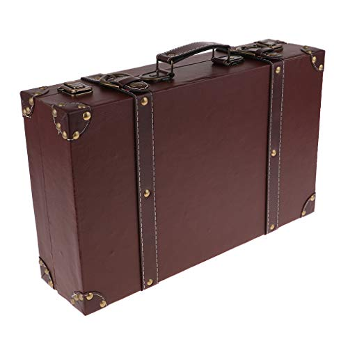 perfk Stylish Antique Wood Novelty English Leather Luggage Suitcase Travel Small Trunk Chest - Brown, 40x25x10cm